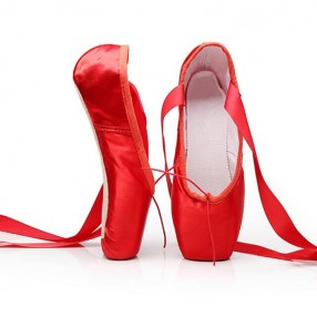 Pointe Shoes Bandage Ballet Dance Shoes Red black Girl Woman Professional Satin Dancing Shoes