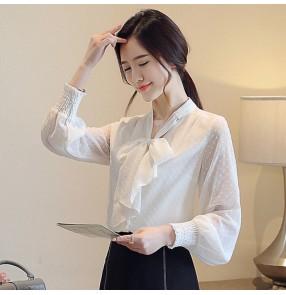 Polka dot chiffon shirt for women's long-sleeved fairy bow female Korean all-match blouse