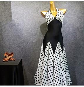 Polka dot women's ballroom dance dresses flamenco dress stage performance waltz tango dance dresses
