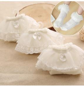Princess ballet latin dance lace socks for girls kids children modern dance princess dresses short socks