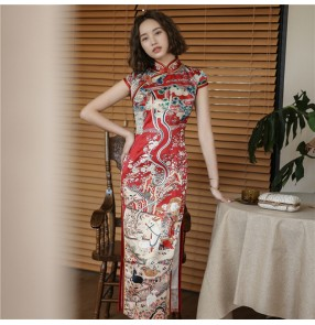 Printed chinese dresses china qipao dresses for women Cheongsam Improved retro Chinese style long red toast dress young dress