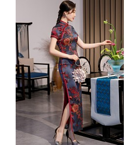 Purple flowers Chinese dresses Traditional oriental cheongsam dresses Old Shanghai catwalk qipao dresses miss etiquette host singers party dresses