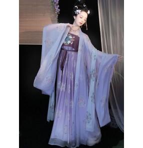 Purple hanfu fairy dress Tang han ming style Empress princess cosplay dress myrobalan skirt chinese ancient folk clothing female photos shooting fairy big-sleeved shirt