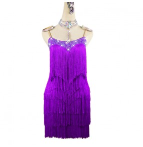 Purple tassels competition latin dance dress for women girls stage performance latin salsa rumba chacha dance dress for female