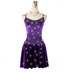 Purple velvet diamond competition latin dance dresses for women girls professional stage performance latin salsa chacha dance dresses
