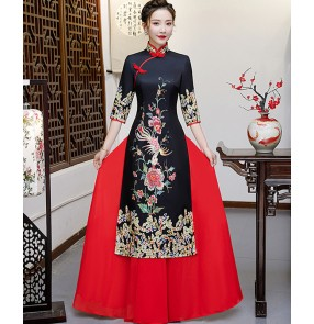 Qipao dress retro cheongsam Chinese dress black with red China traditional oriental model miss etiquette stage performance dresses