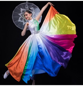Rainbow colored fairy modern dance dresses for women girls traditional umbrella classical fan dance ballroom dresses