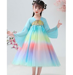 Rainbow colored Hanfu for girls fairy performance dresses under skirts children Tang suit dresses primary school students costume skirts kimono dress for kids