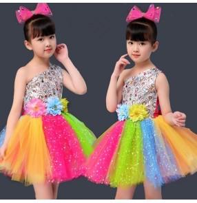 Rainbow colored jazz dance fairy dresses for Girls kids Costumes Tutu Skirt Performance Costume Girls Princess Dress Chorus Dance Dress New Year's celebration Performance Skirt