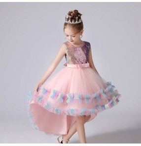 Rainbow sequined Children modern dance ballet dress birthday party princess dress Pianist solo performance costume Girls catwalk tuxedo dress
