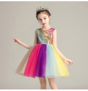 Rainbow sequins princess host flower girls dress for kids stage performacne church choir dress for kids