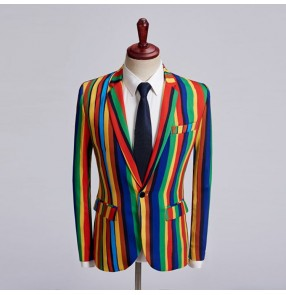 Rainbow striped men's singers chorus performance blazers male competition show competition host magician cosplay coats