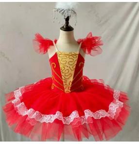Red ballet dress tutu skirt for girls kids little swan tutu suspenders ballerina ballet dance performance costumes birthday xmas gift tutu dress