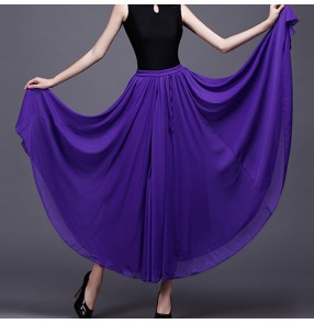 Red black purple colored Women's ballroom dance skirts stage performance waltz tango dance skirt