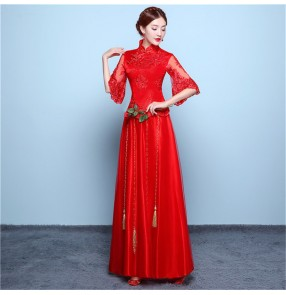 Red Chinese dress wedding party qipao dresses chinese traditional bridal banquet evening party lace A line long dresses for women