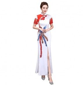 Red Chinese Dress women's qipao dress retro traditional china host singers model show miss etiquette performance evening dresses