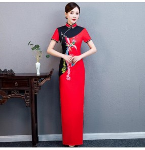 Red Chinese dresses qipao women retro cheongsam oriental dresses model show stage performance dresses