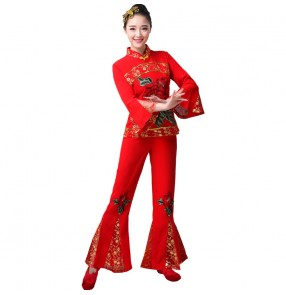 Red chinese folk dance costumes for women flowers chinese traditional yangko umbrella fan drum dance dress for female