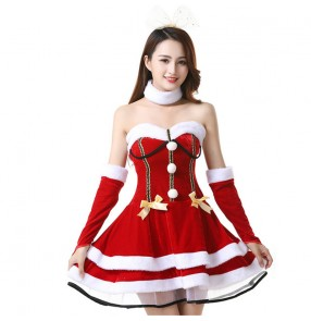 Red Christmas party performance cosplay costume for women   santa costume photos video shooting Christmas cosplay dresses