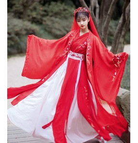 Red color Hanfu for women female Chinese Tang Han Ming Song fairy princess cosplay dress embroidery Chinese wedding dress ancient folk costume