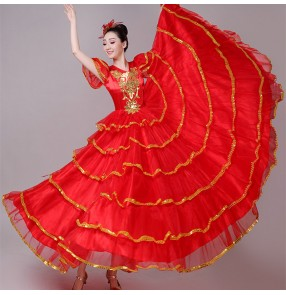 Red color Spanish Bull dance flamenco dresses stage performance for women female opening dance ballroom chorus stage paso double performance clothing for lady
