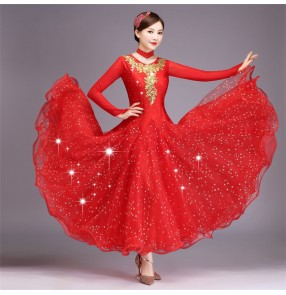 Red colored women's ballroom dancing dresses girls waltz tango dance dresses
