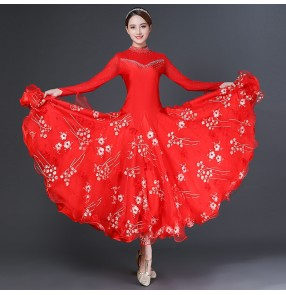 Red competition ballroom dance dress for women rhinestones bling ballroom dance skirts waltz tango dance dress for female