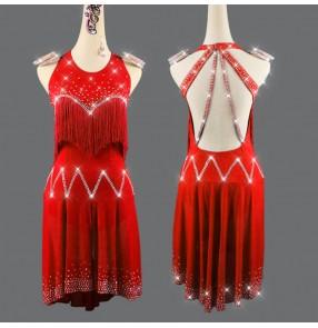 Red diamond tassels competition latin dance dress for women girls salsa rumba chacha dance dress latin dance costumes for female