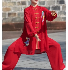 Red embroidered Taichi kungfu suit fitness wushu uniforms female Taijiquan wushu martial art performance competition clothing