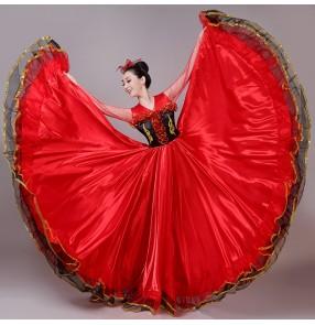 Red flamenco dance dress for women female opening dance ballroom dress paso double spanish bull dance dresses for lady 540degree