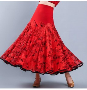 Red floral women's ballroom dancing skirt stage performance waltz tango dance skirts costumes