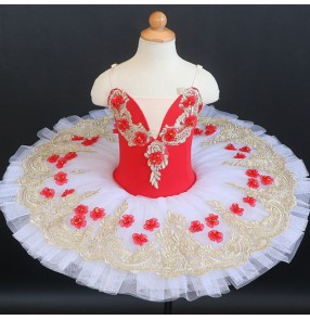 red flower fairy tutu skirts girls ballet dance dresses children ballerina fluffy gauze TUTU skirt window display little swan lake performance costume