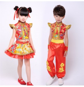 Red gold Chinese dragon pattern folk dance girl's boys kids children performance drummer opening dancing cosplay dance costumes dresses