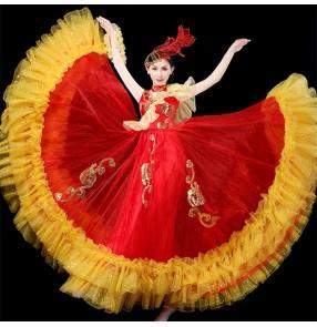 Red gold flamenco dresses spanish paso double dance Stage Dancer Performance Costume ballroom dance dresses Long Skirt Yellow Dance Costumes for Female