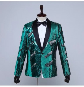 red gold royal blue green sequin jazz dance blazers for men male youth host singers wedding party stage performance coats