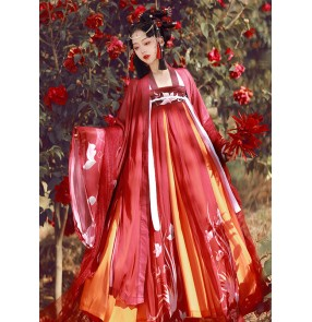 Red Hanfu for women Chinese ancient traditional Folk costumes Han Tang Ming Dynsty oriental stage performance classical dance dress film fairy empress cosplay clothes for lady