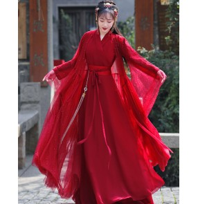 Red Hanfu for women chinese ancient traditional han tang ming dynasty clothing film stage performance phtoos shooting empress fairy cosply clothes