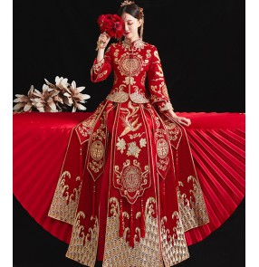 Red Phoenix Wedding Dresses for Bride Women Chinese Wedding Dress women photos shooting cheongsam wedding party Dragon and Phoenix Gown