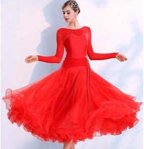 Red pink navy colored girls women's competition ballroom dancing dresses flamenco waltz tango dance dresses
