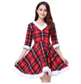 Red plaid Christmas costumes for women girls stage performance costumes Christmas uniforms ds party santa role playing photos shooting performance dresses