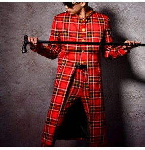 Red plaid England style men's jazz hiphop singers stage performance long coat male magician model show performance long blazers only coat