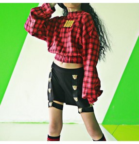 Red plaid girls hiphop street dance outfits stage performance modern dance hiphop tops and shorts