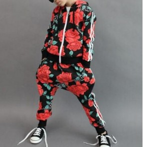 Red rose flower floral printed cotton boys kids children performance school  show  play competition hip hop dance jazz dance outfits costumes set