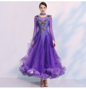 Red royal blue purple diamond Competition ballroom dance Dresses for women ballroom dance skirts waltz tango foxtort performance dresses