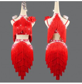 red Tassels competition latin dance dresses for women girls handmade belly dance dress salsa rumba chacha dance competition dance dresses