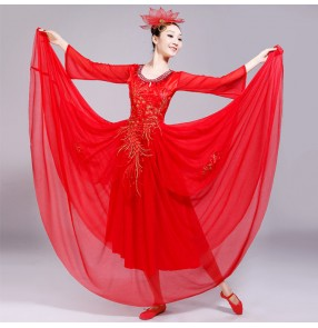 red white colored Women Spanish bull dance dresses stage performance chorus opening dance ballroom dresses