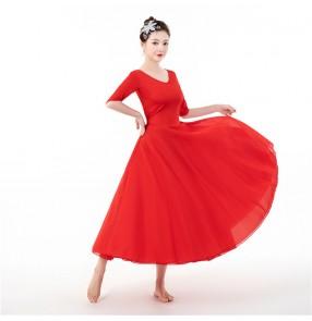 Red white modern dance dress ballet dress for women practice exercises dress with chiffon skirt for female