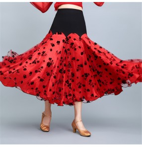 Red with black floral ballroom dance skirts for women stage performance pratice ballroom tango waltz dance skirts for female lady