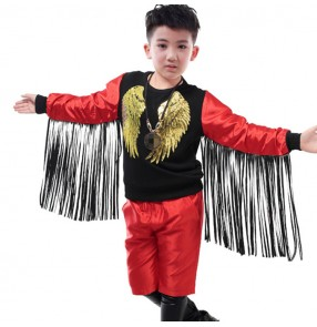 Red with black jazz dance outfits leather modern dance singers drummer studio video stage performance competition tops and pants