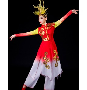 Red with gold chinese folk dance dresses for women drummer performance clothes ancient traditional yangko fan umbrella dance costumes